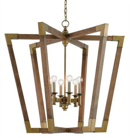 6 Light Bastian Chandelier by Currey and Company in Chestnut Wood and Brass 9000-0008
