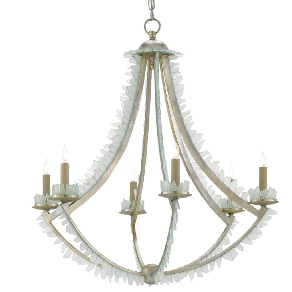 Saltwater Chandelier in Contemporary Silver Leaf/Seaglass by Currey and Company, 9000-0209