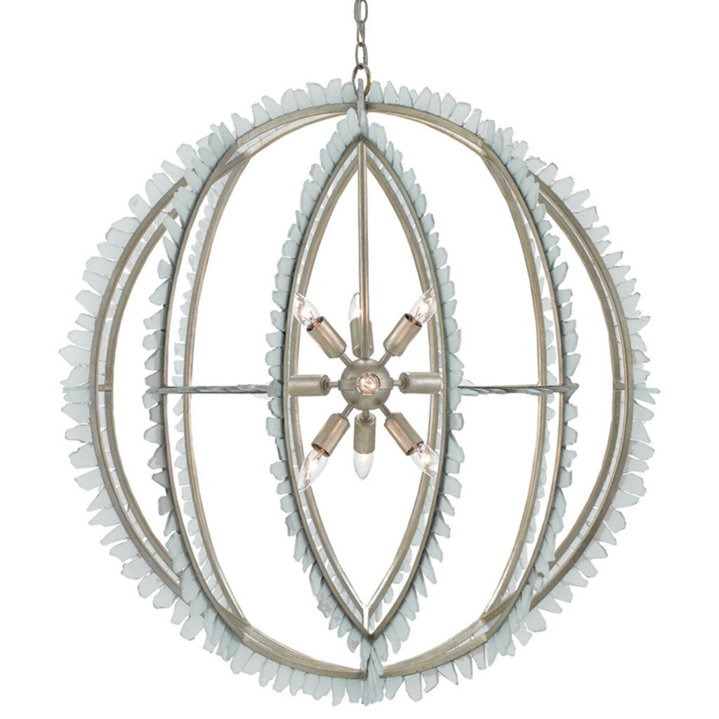 Currey And Company Orb Chandelier: Saltwater Chandelier In Contemporary Silver Leaf/Seaglass