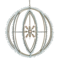 Saltwater Orb Chandelier in Contemporary Silver Leaf/Seaglass by Currey and Company, 9000-0210