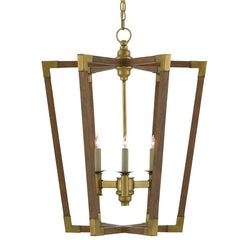 3 Light Bastian Chandelier by Currey and Company in Chestnut Wood and Brass 9000-0220