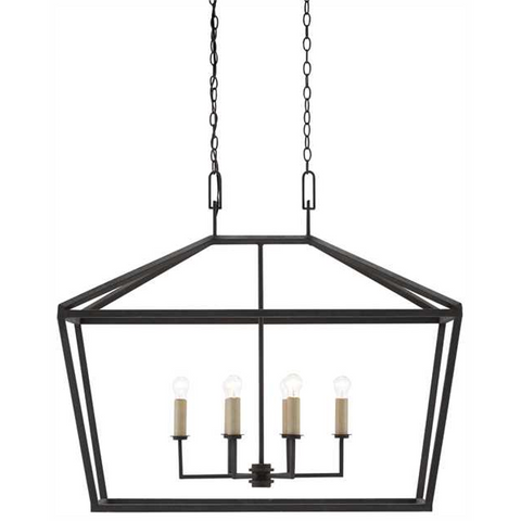 Denison 6 Light Lantern in Molé Black by Currey and Company 9000-0289
