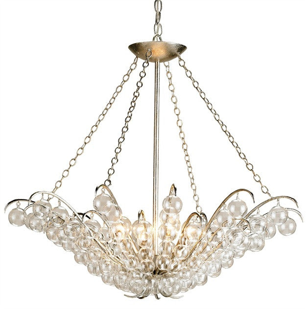 Quantum Chandelier with Silver Leaf Finish by Currey and Company 9000