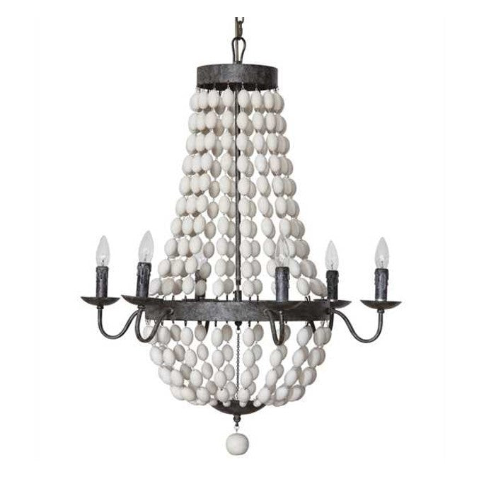 Iron and Wooden Bead Chandelier