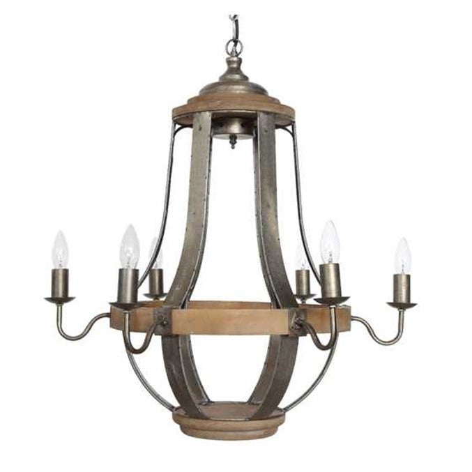 Creative Co-Op Metal and Wood Casual Country Wine Barrel Chandelier DA6095