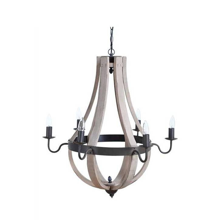 Cottage Metal and Wood Wine Barrel Chandelier by Creative Co Op DE7290