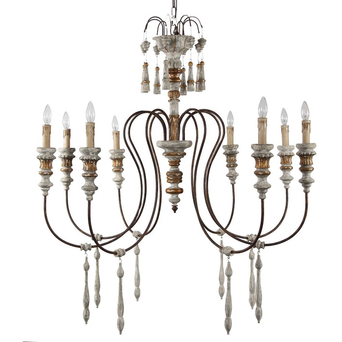 Carlotta 8-Light Chandelier in French White, by Terracotta Lighting, CHAN8036-8