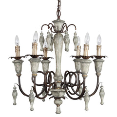 Maya 6-Light Chandelier in French White, by Terracotta Lighting, CHAN8090-6