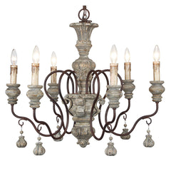Imperial Castle 8-Light Chandelier in Weathered Wood by Terracotta Lighting, CHAN8122-6