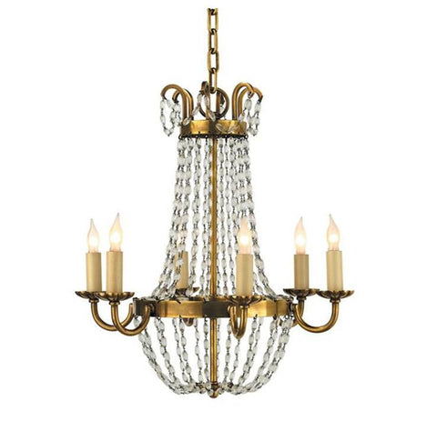 Petite Paris Flea Market Chandelier by Visual Comfort with Antique Brass Finish CHC1407AB-SG