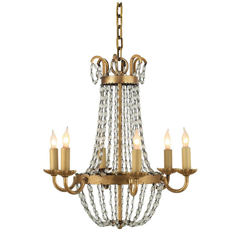 Petite Paris Flea Market Chandelier by Visual Comfort with Gilded Iron Finish CHC1407GI-SG