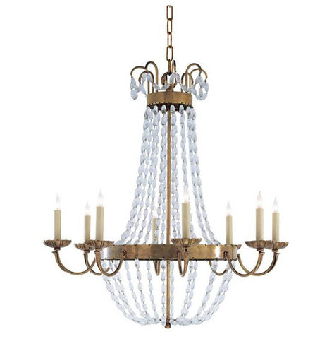 Large Paris Flea Market Chandelier in Antique Brass Visual Comfort CHC1408AB-SG