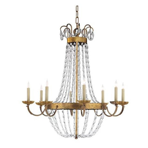 Large Paris Flea Market Chandelier by Visual Comfort with Gilded Iron Finish CHC1408GI-SG