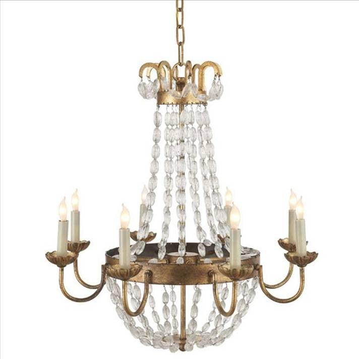 Medium Paris Flea Market Chandelier by Visual Comfort with Gilded Iron Finish CHC1426GI-SG