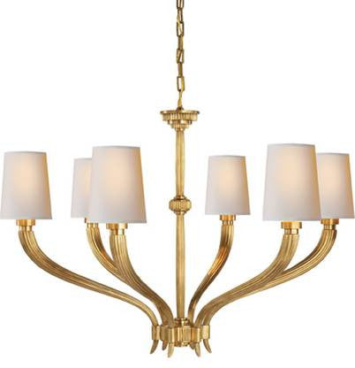 Visual Comfort Ruhlmann Chandelier with Antique Brass Finish CHC2462AB-NP