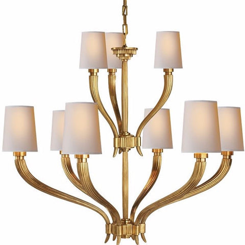 Visual Comfort Ruhlmann Chandelier with Natural Paper Shades in Antique Brass CHC2465AB-NP