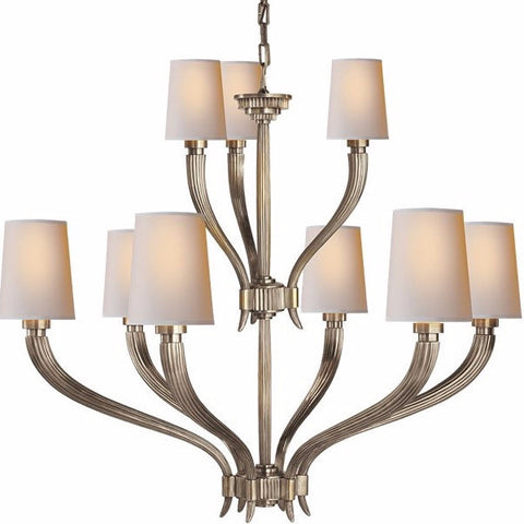 Visual Comfort Ruhlmann Chandelier with Natural Paper Shades in Antique Nickel CHC2465AN-NP