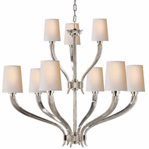Visual Comfort Ruhlmann Chandelier with Natural Paper Shades in Polished Nickel CHC2465PN-NP