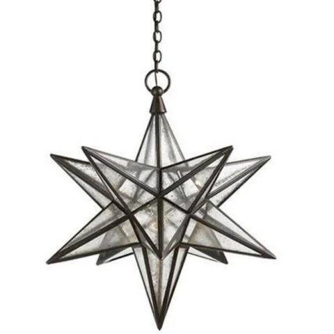 Large Visual Comfort Moravian Star Light with Antique Mirror and Antique Iron Finish CHC5212AI-AM