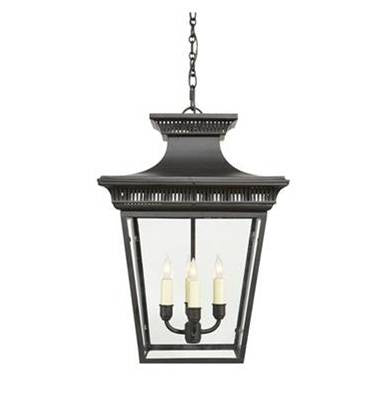 Visual Comfort Elsinore Hanging Lantern in Hand Painted Black CHC5050BLK