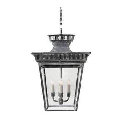 Visual Comfort Elsinore Hanging Lantern in Weathered Zinc CHC5050WZ