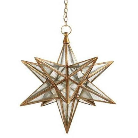 Large Visual Comfort Moravian Star Light with Antique Mirror and Gilded Iron Finish CHC5212GI-AM