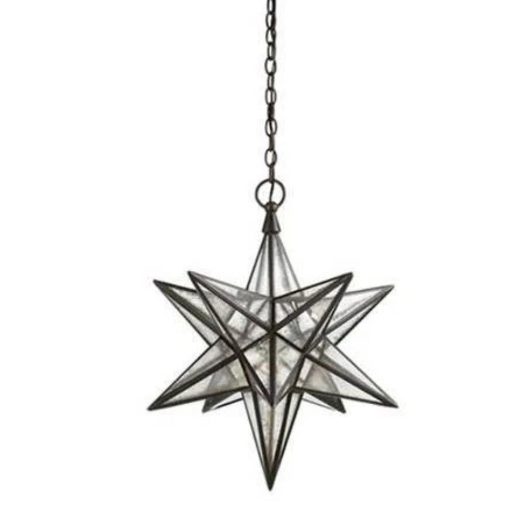 Medium Visual Comfort Moravian Star Light with Antique Mirror and Antique Iron Finish CHC5211AI-AM