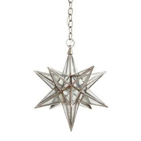 Medium Visual Comfort Moravian Star Light with Antique Mirror and Burnished Silver Leaf Finish CHC5211BSL-AM