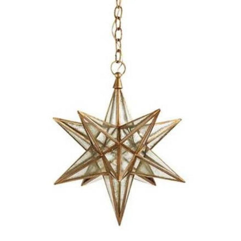 Medium Visual Comfort Moravian Star Light with Antique Mirror and Gilded Iron Finish CHC5211GI-AM