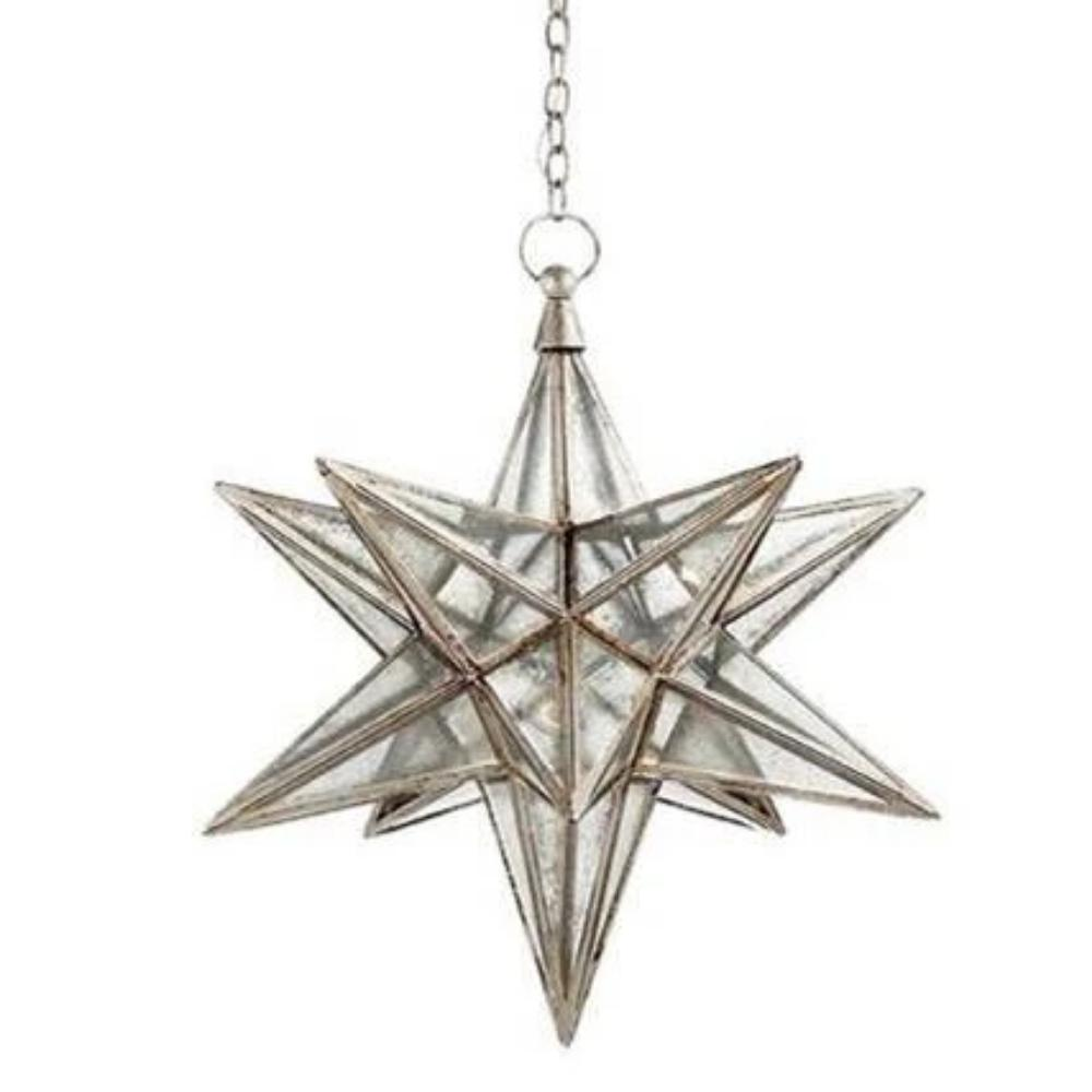 Large Visual Comfort Moravian Star Light with Antique Mirror and Burnished Silver Leaf Finish CHC5212BSL-AM
