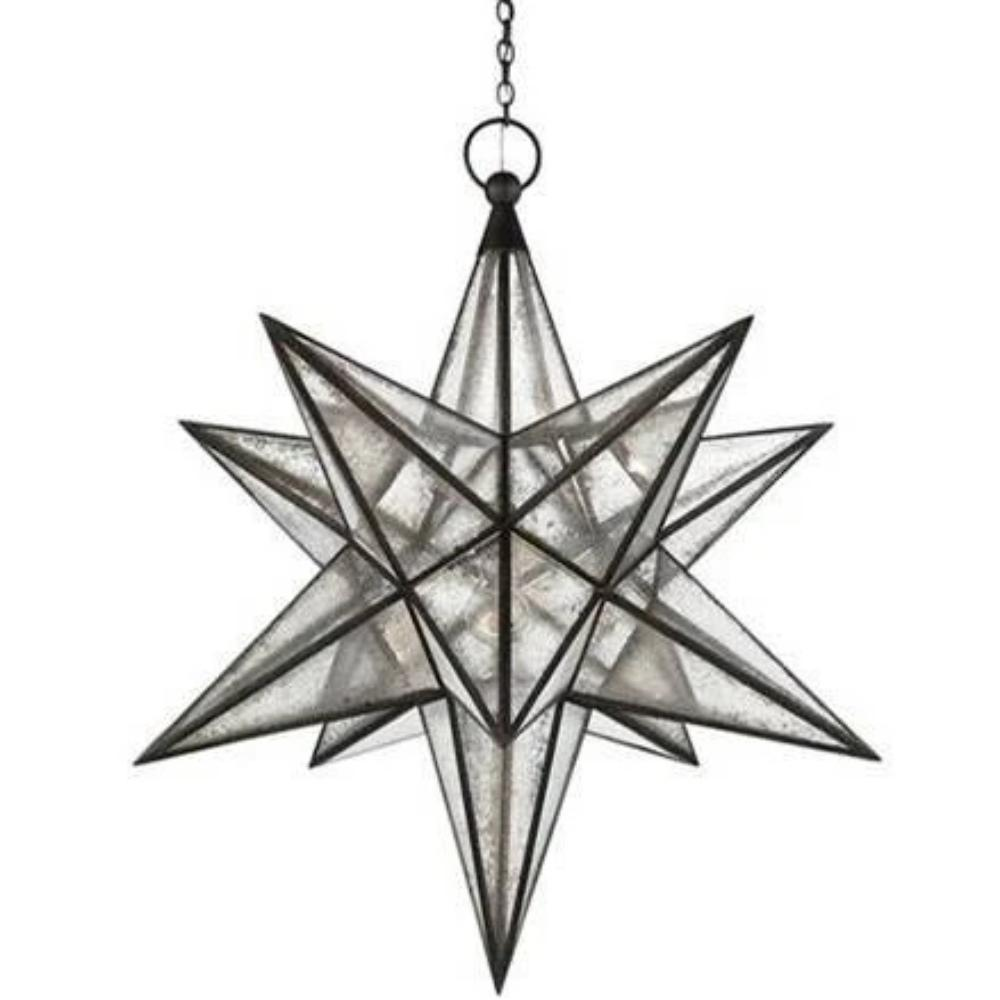 XL Visual Comfort Moravian Star Light with Antique Mirror and Antique Iron Finish CHC5213AI-AM