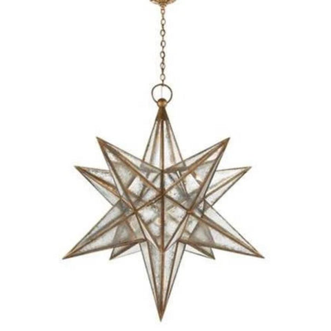 XL Visual Comfort Moravian Star Light with Antique Mirror and Burnished Silver Leaf Finish CHC5213BSL-AM