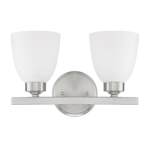 Capital Lighting Jameson 2 Light Vanity Light in brushed Nickel with White Glass 114321BN-333