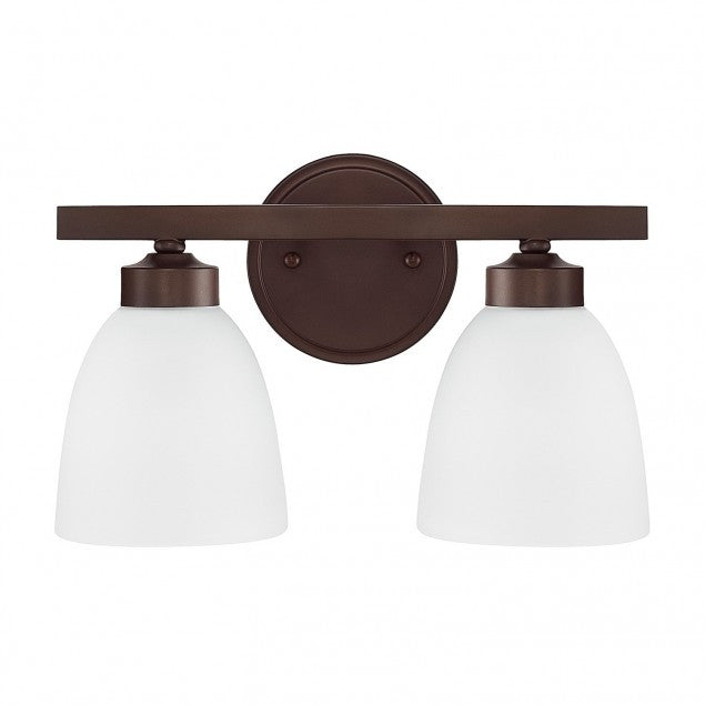Capital Lighting Jameson 2 Light Vanity Light in Bronze with White Glass 114321BZ-333
