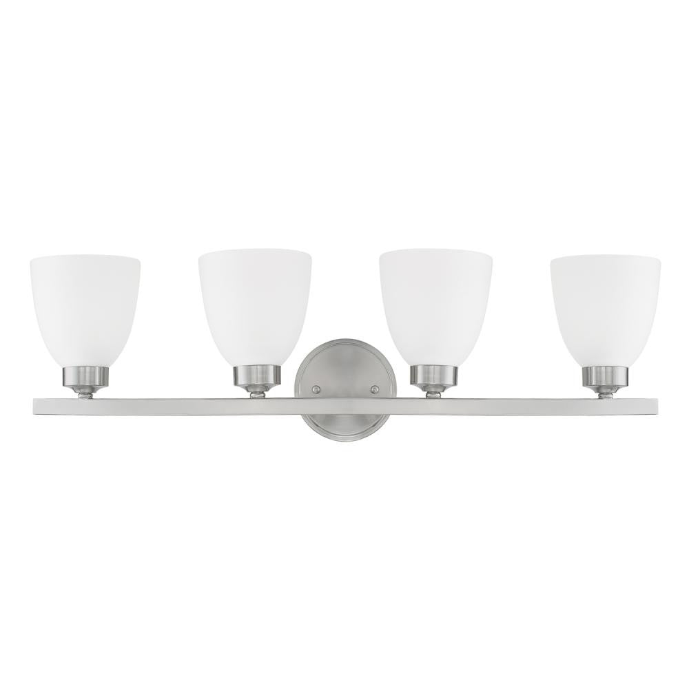 Jameson 4 Light Vanity in Brushed Nickel with White Shades by Capital Lighting 114341BN-333