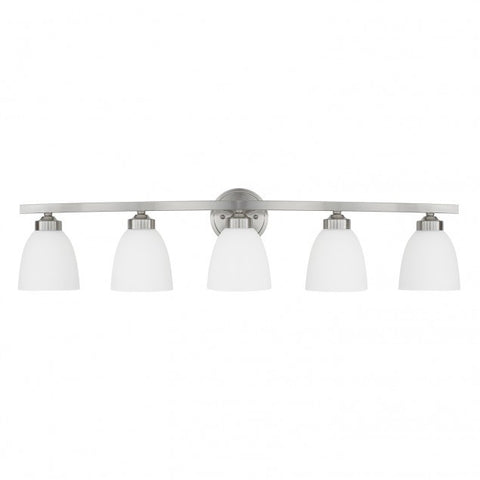 Jameson 5 Light Vanity in Brushed Nickel with White Shades by Capital Lighting 114351BN-333