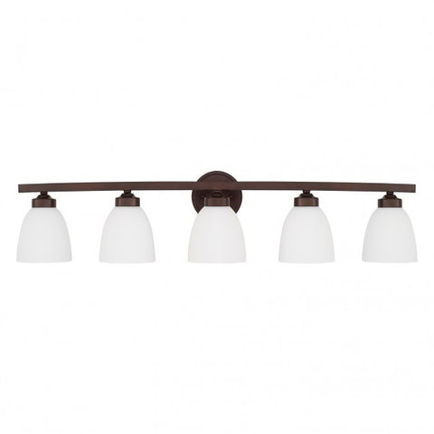 Jameson 5 Light Vanity in Bronze with White Shades by Capital Lighting 114351BZ-333