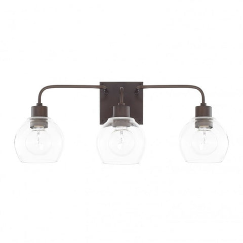 Capital Lighting Bronze 3 Light Tanner Vanity Light with clear glass globes 120031BZ-426