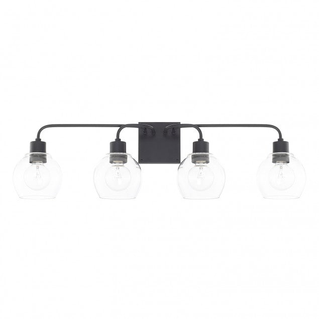 Tanner 4 Light Vanity Light by Capital Lighting with clear glass globe shades 120041MB-426