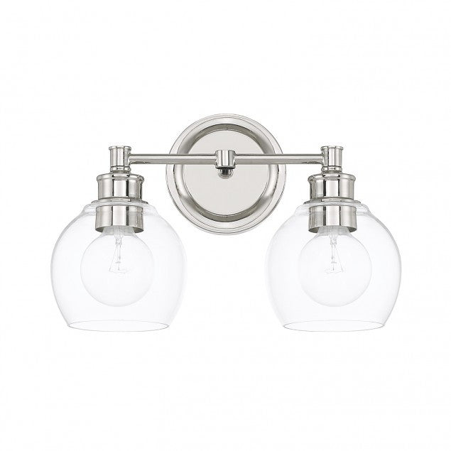 2 Light Mid-Century Vanity Light in Polished Nickel with clear rounded glass shades by Capital Lighting 121121PN-426