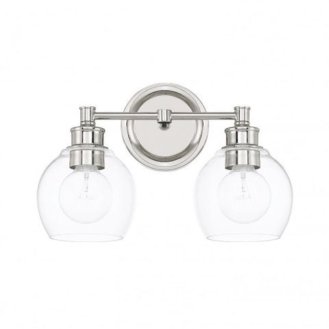 Capital Lighting 2 Light Mid-Century Vanity Light in Polished Nickel with clear rounded glass shades 121121PN-426