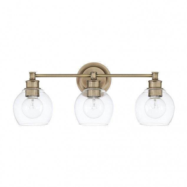 3 Light Mid-Century Vanity Light in Aged Brass with clear rounded glass shades by Capital Lighting 121131AD-426