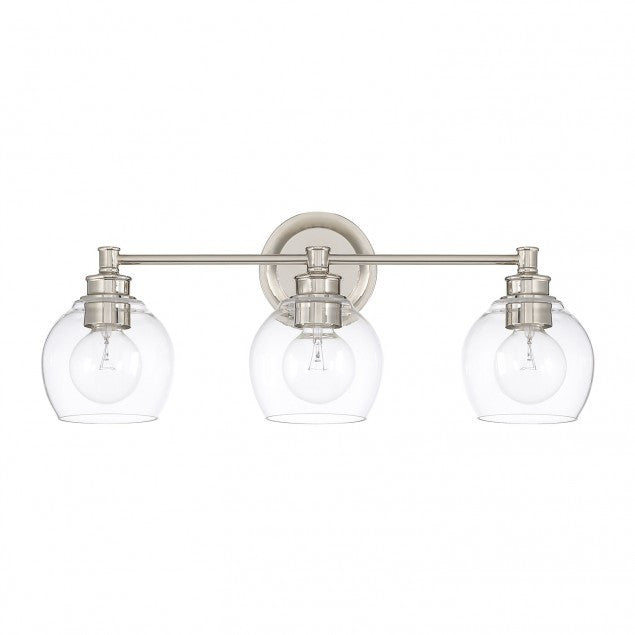 3 Light Mid-Century Vanity Light in Polished Nickel with clear rounded glass shades by Capital Lighting 121131PN-426