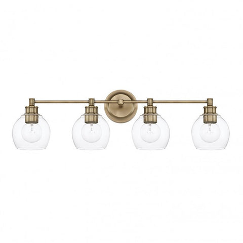 4 Light Mid-Century Vanity Light in Aged Brass with clear rounded glass shades by Capital Lighting 121141AD-426