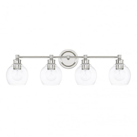 4 Light Mid-Century Vanity Light in Polished Nickel with clear rounded glass shades by Capital Lighting 121141PN-426
