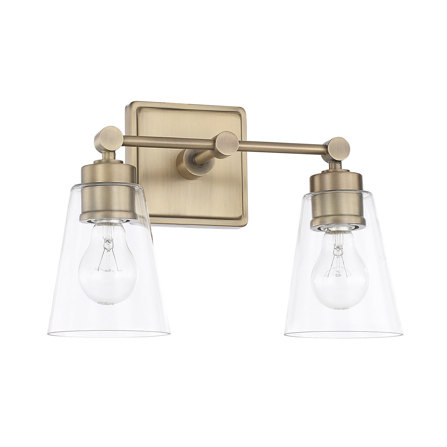 2 Light Enright Vanity in Aged Brass with clear cone shaped glass shades by Capital Lighting 121821AD-432