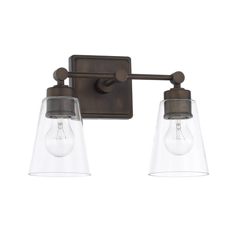 2 Light Enright Vanity in Olde Bronze with clear cone shaped glass shades by Capital Lighting 121821OB-432