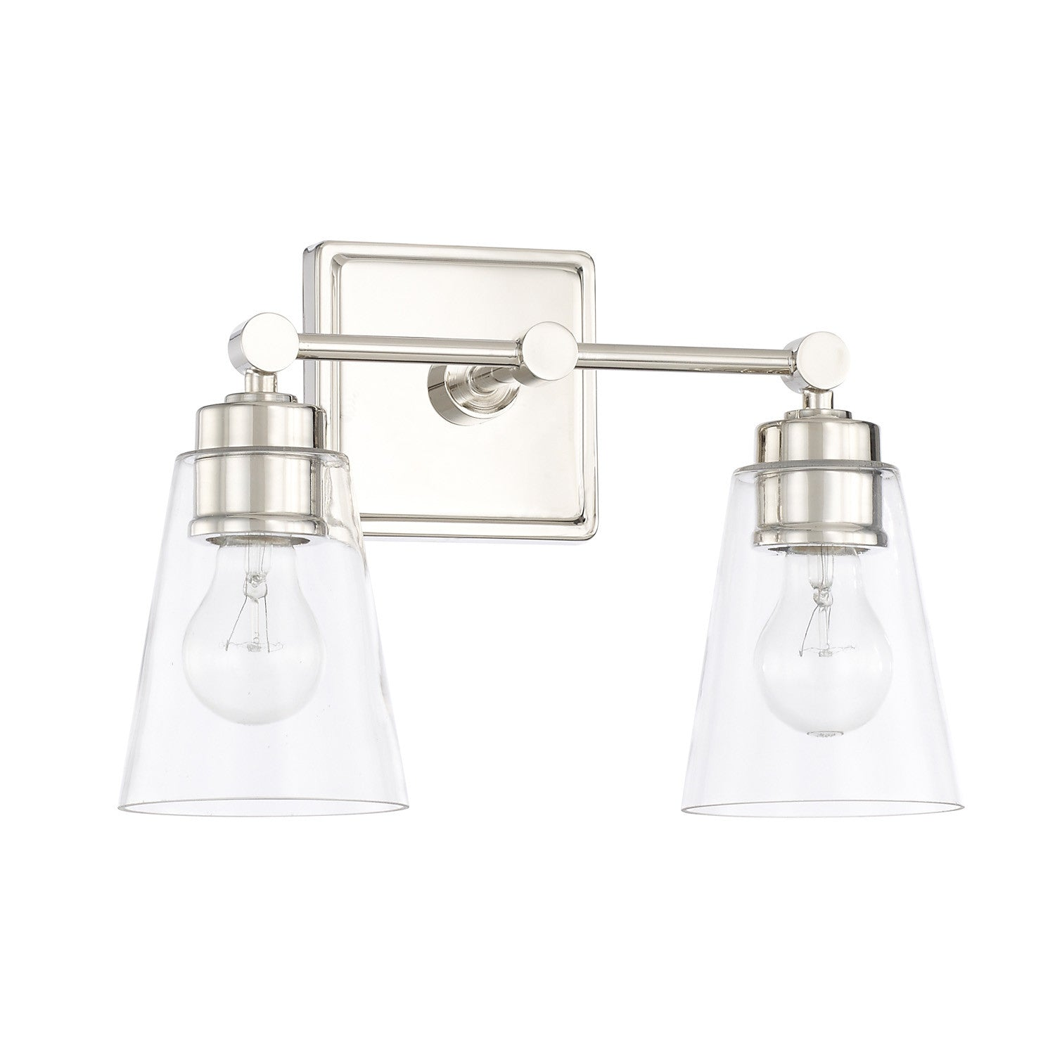 2 Light Enright Vanity in Polished Nickel with clear cone shaped glass shades by Capital Lighting 121821PN-432