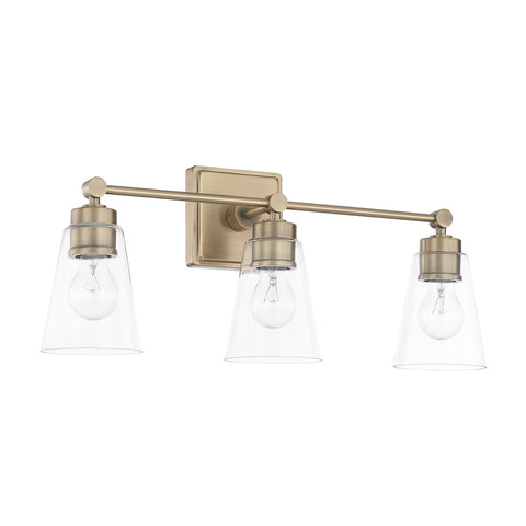3 Light Enright Vanity in Aged Brass with clear cone shaped glass shades by Capital Lighting 121831AD-432