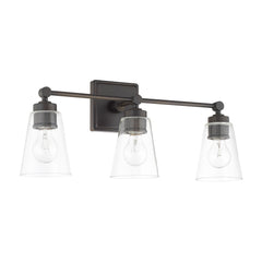3 Light Enright Vanity in Olde Bronze with clear cone shaped glass shades by Capital Lighting 121831OB-432